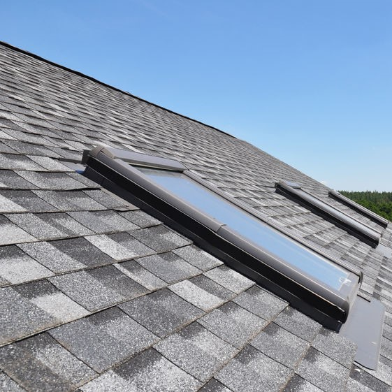 shingle roof and skylight