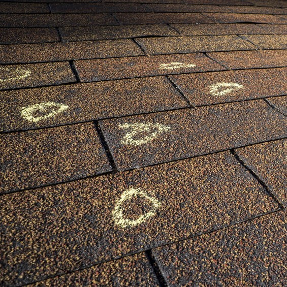 chalk marks on roof