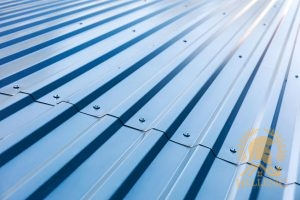 A Slanted View of Blue Corrugated Panels