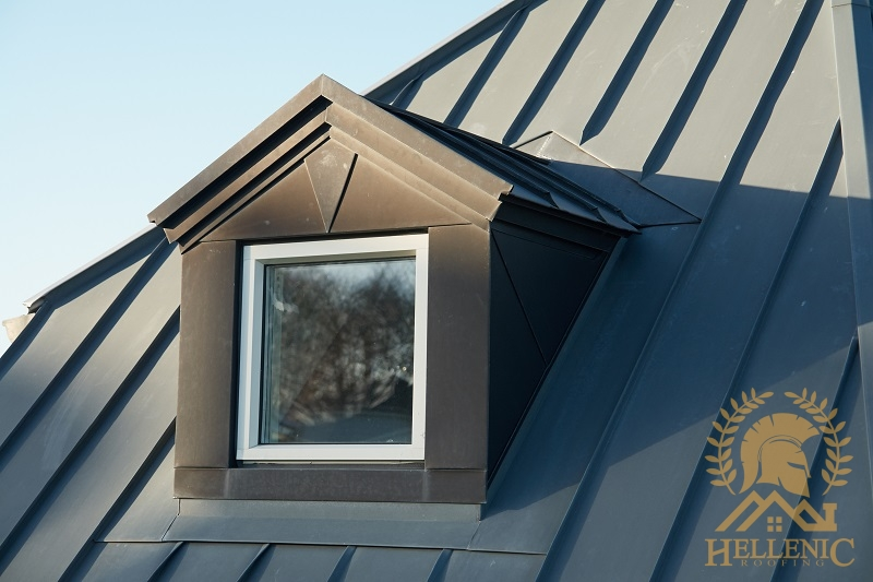 A Dark Gray Standing Seam Metal Roof.